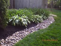 Landscape Job 16 Mulch Bed w River Rock Bank Spring Cleanup