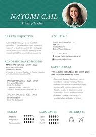 teacher resume format in word free download free primary teacher resume cv template in photoshop psd
