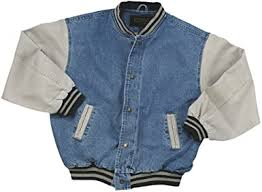 Washed Cotton- <b>Vintage Denim</b> Varsity Jacket with Khaki Sleeves at ...