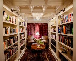 home library with red curtain wooden ceiling panels brown chairs round coffee table home library office57 home