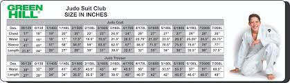 Judo Suit Size Chart Size Guide