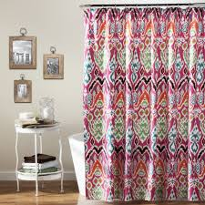 Lush Decor Lake Como Curtains Coral Pink Shower Curtain