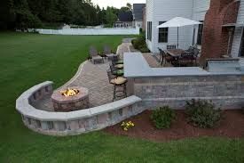 Brick Patio With Firepit Fire Pit In Backyard Superb Bonfire Ideas