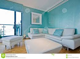 Teal Living Room Furniture White Leather Corner Sofa In A Modern Living Room Royalty Free