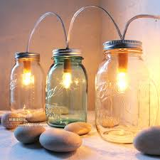 Summer Cabin Lights -Mason Jar Lighting Standing Banner Lights Fixture -  BootsNGus Lamp Design - Blue and Clear Glass Upcycled Wedding