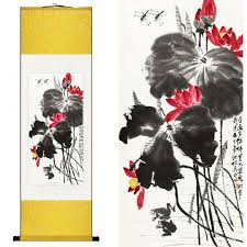 chinese silk ink watercolor flower bird qi baishi lotus dragonfly art print canvas wall picture damask