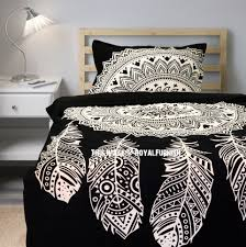 twin black white dream catcher mandala duvet cover with one pillow sham royalfurnish com