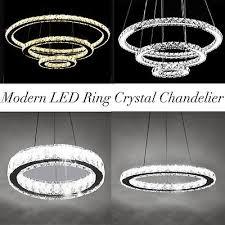 modern led 1 3 rings crystal chandelier pendant ceiling lamp light fixture my