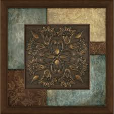 framed abstract print on turquoise and brown metal wall art with shop framed abstract print at lowes