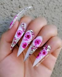 Pointy Nails Designs With Diamonds Stiletto Nails Flower Nail Design Pink And White Nails