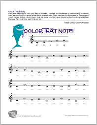 Color That Note! | Free Note Name Worksheet - Treble Clef/C ...