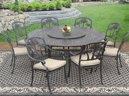 more views palm tree cast aluminum outdoor patio 9pc dining set 8 dining chairs 71 inch round