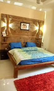 Pallet Bedroom Furniture Diy Pallet Bed With Wall Headboard Lamps Shelf
