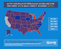 auto insurance premiums increase for drivers with bad credit scores