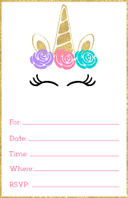 Print Birthday Invitation Free Printable Unicorn Invitations Template Paper Trail Design