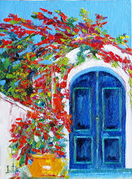 colors of greece original oil painting