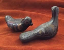 pair of vine clay birds from mexico handmade