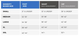 Boxers Size Chart