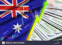 Australia Flag And Chart Growing Us Dollar Position With A