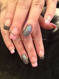 Charcoal grey glitter and baby pink freehand nail art   Finger ...