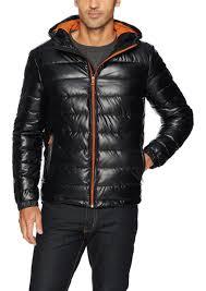 cole haan signature men s hooded faux leather jacket black orange
