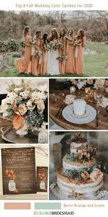 Top 8 Fall Wedding Color Combos for 2020   Orange wedding colors, Wedding  color combos, Orange bridesmaid dresses
