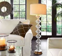 Floor lamps in living room Grey Pottery Barn Jasmine Glass Floor Lamp Base Pottery Barn