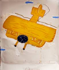rose wylie ray s yellow plane notes 2016 oil on canvas 210