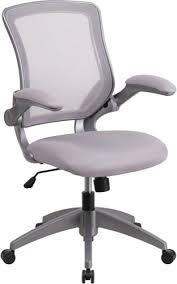 Fabric office chairs with arms Desk Chair Midback Gray Mesh Swivel Task Chair With Gray Frame And Flipup Arms blzp8805gygg Vqv Furniture Group Contemporary Office Chair Grey Mesh With Grey Fabric Seat And Flip