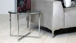 round glass side table with chrome base
