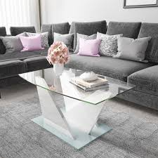 glass coffee table with white high gloss stand tiffany range tiff023