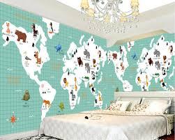 Beibehang Cartoon Kaart Dieren Foto Behang Kinderkamer Achtergrond