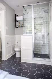 We love this mix of hexagonal floor tiles with subway tiling in the shower!  Home decor ideas - bathroom renovation - bathroom decor - tile inspiration