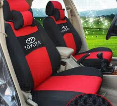ventilate embroidery logo car seat cover front 2 seat cushion fit toyota land cruiser rav4 highlander prado with 2 neck pillows cover armor high