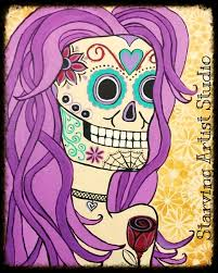 mrs sugar skull acrylic on canvas canvas painting starving artist studio