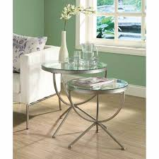 satin silver piece nesting table set come with elegant design glass metal coffee tables and table metal plus white round glasses tables along with four