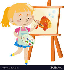 canvas painting art vector girl painting goldfish on canvas vector
