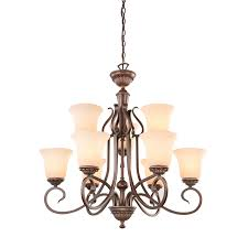portfolio colton lakes 25 25 in oil rubbed bronze terranean tinted glass shaded chandelier