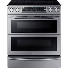 side by side double oven electric range. Interesting Oven SlideIn Double Oven Electric Range With SelfCleaning Convection In  Stainless SteelNE58K9850WS  The Home Depot With Side By