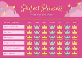 Pink Yellow And Green Royal Princess Reward Chart