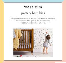 west elm and pottery barn kids peion win a 1000 pottery barn kids gift card