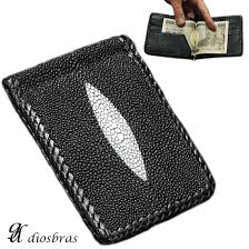 leather high quality ray leather stingray stingray used money clip wallet money clip two fold purse