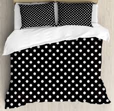 black and white duvet cover set classical pattern of white polka dots on black traditional vintage design decorative bedding set with pillow shams