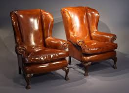 pair antique of leather wing chairs loveday antiques