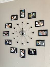 creative wall decor photo collage ideas with unique wall clock at the family room