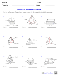 geometry worksheets surface area volume worksheets prisms and pyramids volume worksheets