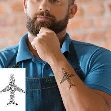 Vodotěsný Dočasné Tetování Nálepka Dopis Letadlo V Pohodě Tatto