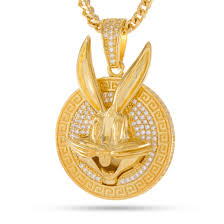 925 sterling silver bugs bunny necklace gold