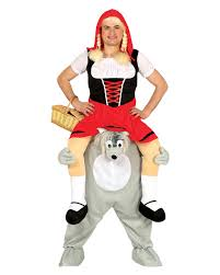little red riding hood on wolf piggyback costume to order horror