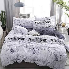 white marble patterm 3 4pcs bedding set flat sheet pillowcase duvet cover sets soft bed linen